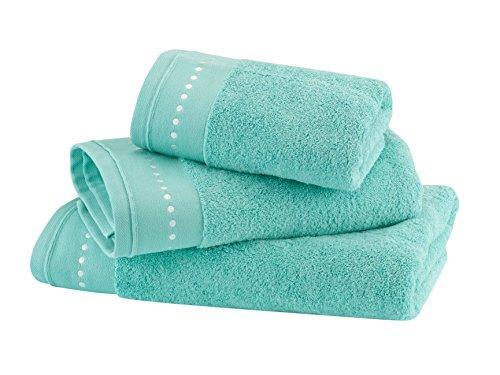 BLANC CERISE Serviette de Toilette - Coton peigné 600 g/m² - Unie Vert Pastel 050x100 cm