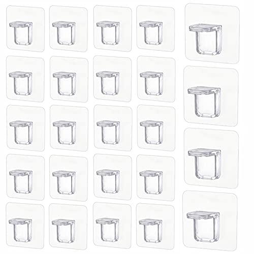24 piezas Clavija de soporte estante, Soportes clavija estante sin perforaciones, estante de armario armario muebles, Se adapta al soporte exhibición accesorios de oficina de armario, transparente