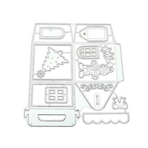 HVdsyf Weihnachten Stil Stanzungen, DIY Weihnachten Haus Box Metall Stanzformen Papier Prägeschablone Vorlage für Sammelalbum Karte Kunsthandwerk Decor Silver