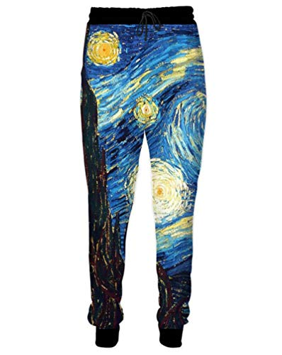LKJDIE Unisex Joggers Sweatpants Printed 3D Casual Pants Outfit Clothes Jogging Starry Night L