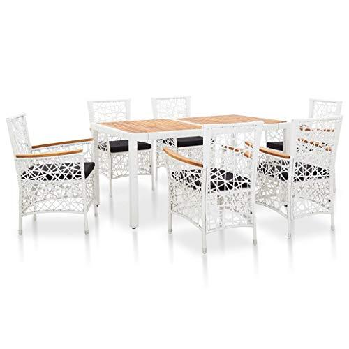 UnfadeMemory Garten-Essgruppe Set Gartenmöbel Sitzgruppe Poly-Rattan und Stahlrahmen Gartengarnitur Gartentisch mit Glasplatte Gartenstühle Essstühle mit Abnehmbare Sitzpolster (7-TLG. Set, Weiß)