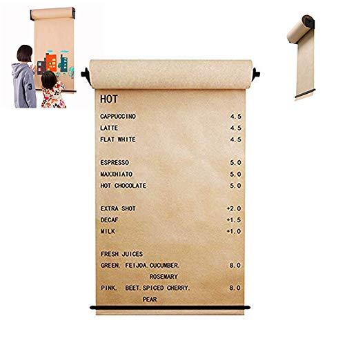 Wall Mounted Kraft Paper Dispenser Holder & Drawing Roller Paper Reusable,Fits Office Dessert Cafe Shop Home Decoration -1 Dispenser,Paper,Paper Cutter Bar,97cm