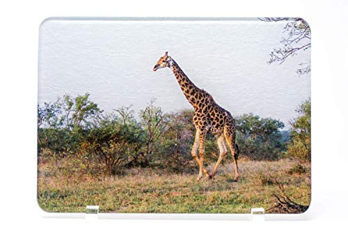 African Giraffe Glass Cutting Board, Hand Imprinted Photo