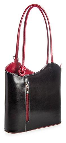 Gran bolso de mujer estilo shopping de piel italiana para llevar al hombro o como mochila, piel tela, Black - Red Trim, Medium