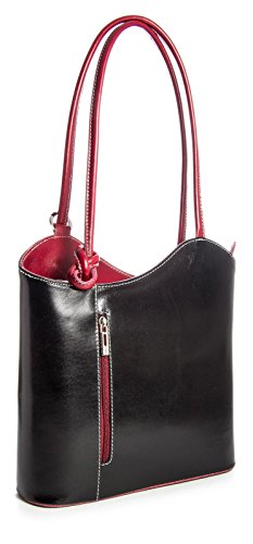 Gran bolso de mujer estilo shopping de piel italiana para llevar al hombro o como mochila,...