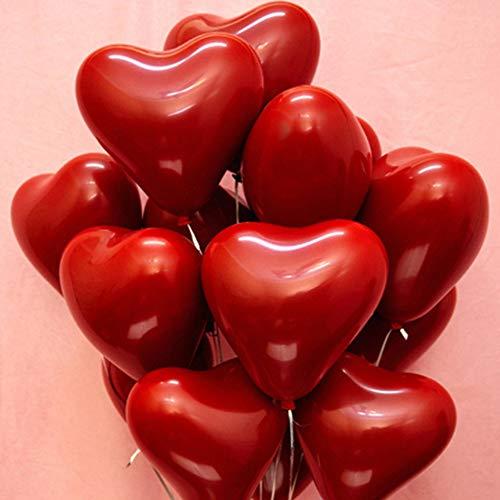 JWTOYZ Luftballons Rot Herz, 50 Stück Luftballons Hochzeit Herz Helium Ballons für Geburtstag Valentinstag Brautdusche - Doppelschicht Herz Luftballons
