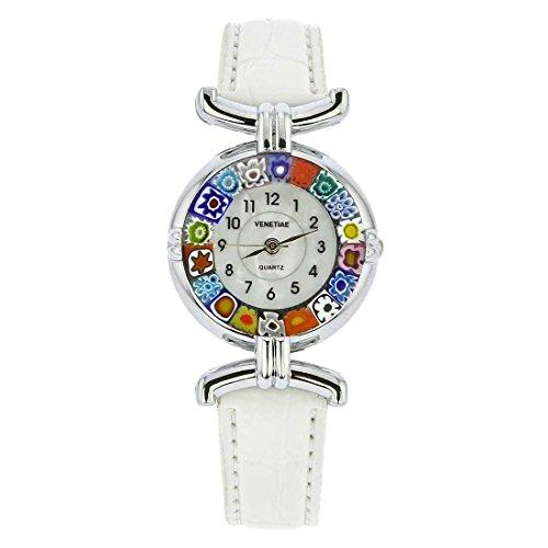 Murano Millefiori Uhr Mit Lederband - Weiß