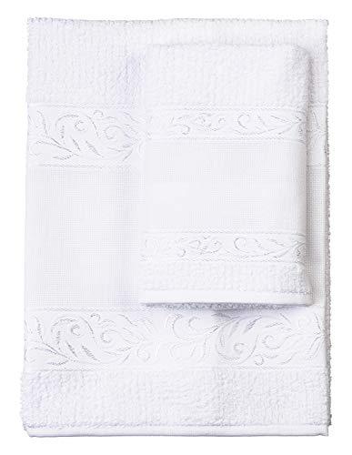 Filet Handtücher, 100% Baumwoll-Frottee, einfarbig, mit Stickerei, Aida-Einsatz, Weiß