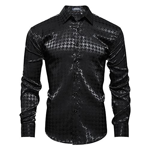 HISDERN Camisa de Manga Larga con Pata de Gallo Hombre Camisas de...
