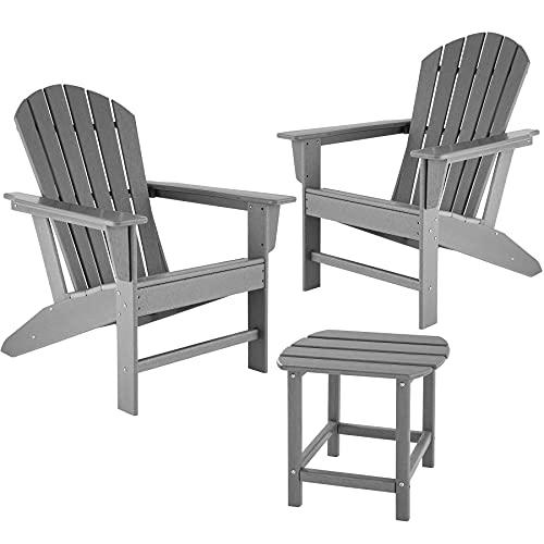 TecTake 2er Set Adirondack Gartenstuhl mit Beistelltisch, Holzoptik, Gartensessel mit Breiten Armlehnen und Tisch, für Garten, Terrasse und Balkon, wetterfest (Grau)