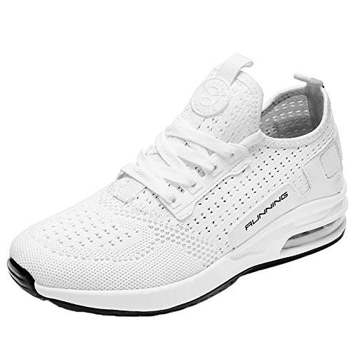 Entrenadores Corriendo Hombres Mujeres Cojín De Aire Casual Zapatillas De Deporte Atléticas Daminando Malla Transpirable Zapatos Para Caminar,Blanco,39EU