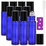 Alledomain, 10 Botellas de 10 ml de aceites Esenciales, Botellas de Vidrio Recargables de Color Azul Cobalto con Bolas de Acero Inoxidable, Incluye 1 cuentagotas y abridor