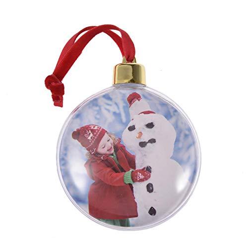 6 Palline di Natale Portafoto Trasparenti, Palla di Natale Decorazione Addobbo Personalizzata, Palline di Plastica Personalizzate con La Foto Che Preferisc (6 Pezzi)
