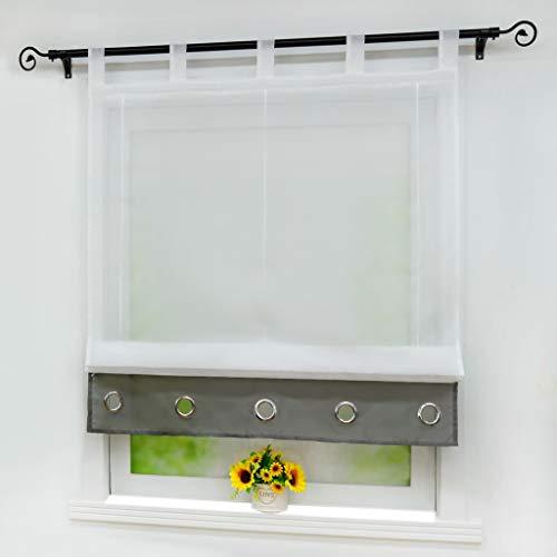 Yujiao Mao Voile Raffrollo Moderner Einfachheit Stil Zierösen Raffgardinen Raffrollo mit Schlaufen 1er-Pack, Weiß-Grau, BxH 100x155cm