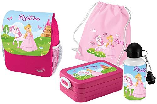 Mein Zwergenland Set 5 Kindergartenrucksack mit Brotdose Maxi, Turnbeutel und Flasche Happy Knirps Next Print mit Name Prinzessin, 4-teilig, Pink
