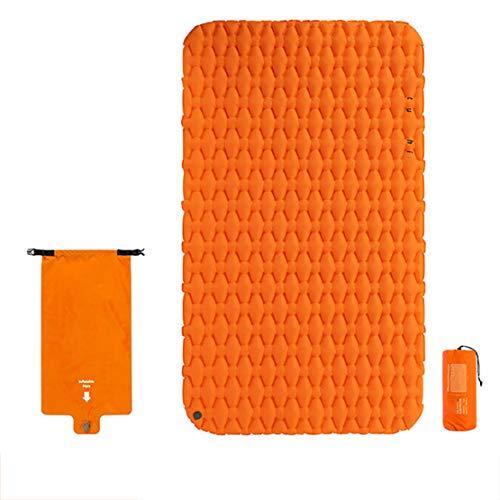 Picknick aufblasbare Kissen, 120 * 200 * 6.5cm bewegliches Zelt Doppel Folding weicher Schlafsack und Luftsack, geeignet for Outdoor-Camping/Rasen Garten (Size : Orange)
