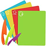Kids Cooking Supplies Knife & Bendable Plastic Cutting Board Mats,Colorful Kitchen Cutting Boards,Safe Lettuce Salad Vegetable Fruit Knives,BPA-Free