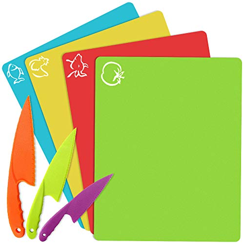 Kids Kitchen Cutting Boards Set - Small Flexible Colorful Thick Chopping Mats...