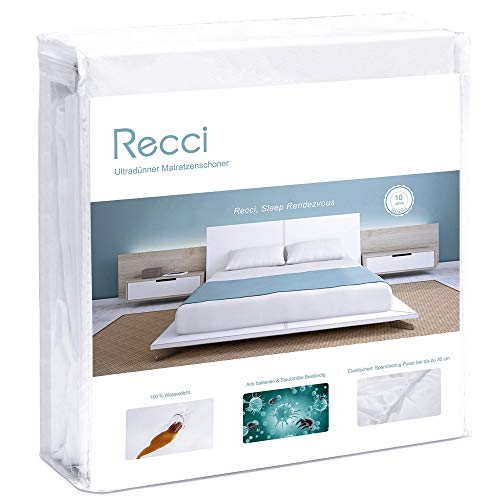 RECCI Ultra-Thin Mattress Protector - Double Mattress Cover, 100% Waterproof, Anti Allergy, Bed Bug Proof 【Double Size - 135 x 190 cm】