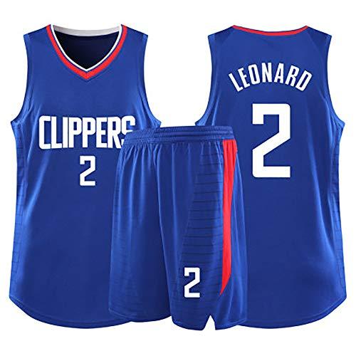 Kinder-Basketballtrikot, Los Angeles Clippers-Trikot Nr. 2, Kawhi Leonard Star-Trikot, Mesh-Basketball-Rocker-Trikot-Blue-M