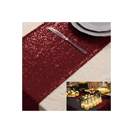 Chemin de table bordeaux Chemin de table à paillettes 12 x 90 pouces Couverture de table à paillettes de vin Chemin de table de fête Chemin de table pour Noël Halloween Décoration d'événement