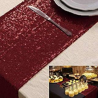 Chemin de table bordeaux Chemin de table à paillettes 12 x 90 pouces Couverture de table à paillettes de vin Chemin de tab...