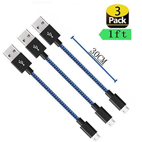[3Pack] Short Micro USB Cable, [1ft] Nylon Braided Android Charger USB to Micro USB Charging Cable for Samsung Galaxy S7 Edge/S7/S6/S4/S3,Note 5/4/3, LG, Motorola ( (3Pack Blue)
