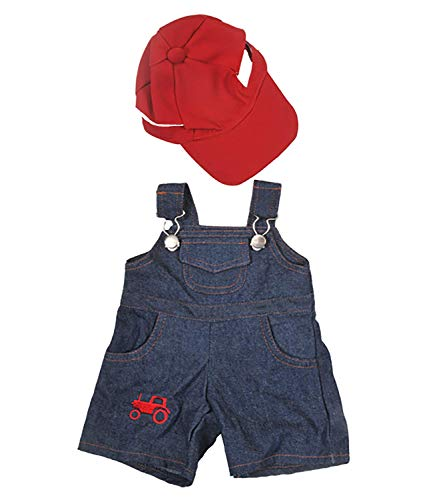 Farmer Outfit with Cap Outfit Teddy Bear Clothes Fits Most 14 - 18 Build-A-Bear, Vermont Teddy Bears, and Make Your Own Stuffed Animals by Stuffems Toy Shop