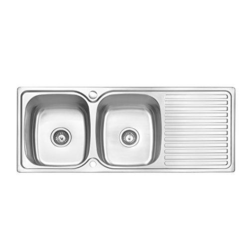 Jass Ferry inserto in acciaio INOX per lavello da cucina doppio 2.0ciotola reversibile sgocciolatoio & rifiuti tubi clip 1180x 480mm–10anni di garanzia