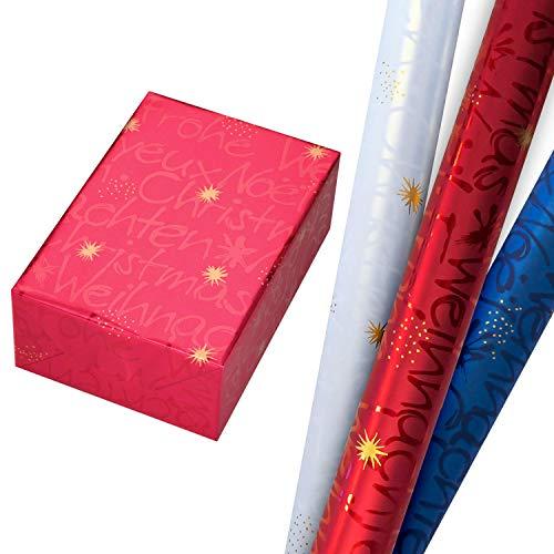 Geschenkpapier Weihnachten Set 3 Rollen (75 x 150 cm), perlglanz und metallisch schimmernde Weihnachtsschrift in Rot, Blau und Weiß (mit Rückseite). Für Geburtstag, Weihnachtsgeschenkpapier.