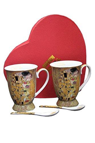 Atelier Harmony Gustav Klimt Teetassen Der Kuss 4teilig Porzellan (Beige) Der Kuss
