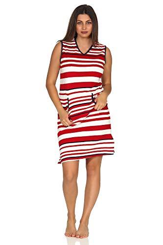 Ärmelloses Damen Achselträger Frottee Strandkleid Nachthemd in maritimer Streifen Optik, Farbe:rot, Größe2:40/42