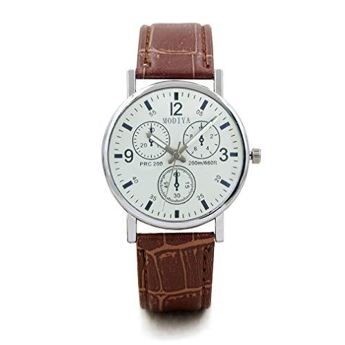 WEQQ Reloj de Pulsera de Acero Inoxidable para Hombre, Reloj de Cuarzo con Correa de Cuero, Reloj de Cuarzo (Blanco y marrón)