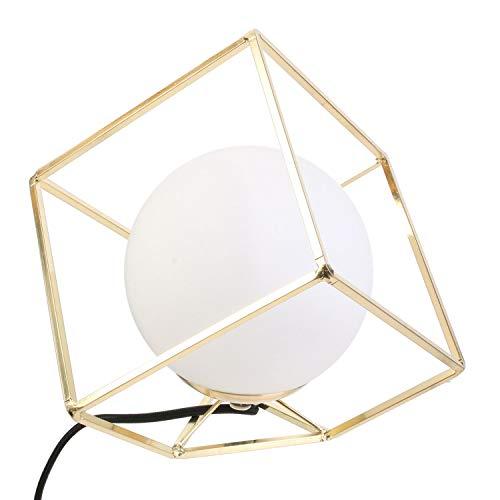 Cmp-Paris - Lámpara de Mesa Cuadrada de Cristal Opaco, Estilo Retro Chic, 17 x 17 x 17 cm