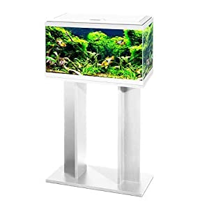 Ciano 60 Tropical Glass 2ft Aquarium & Stand – Includes Filter, LED Lights, Heater & Siphon 58 Litres (WHITE)