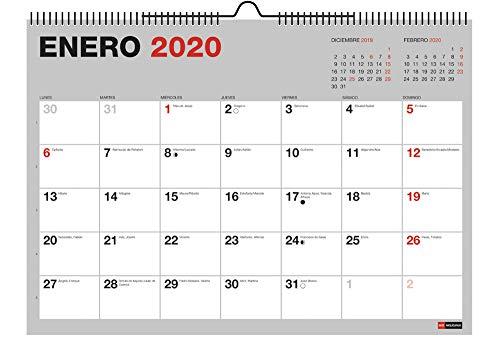 Miquelrius 28033 - Calendario de Pared A3 para escribir Gris 2020 Básico Castellano