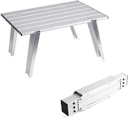 Mesa de picnic al aire libre Mesa de camping plegable portátil - construcción de aleación de aluminio anodizante, tapa plegable - compacto con bolsa de transporte - para exterior, picnic, festival, ba