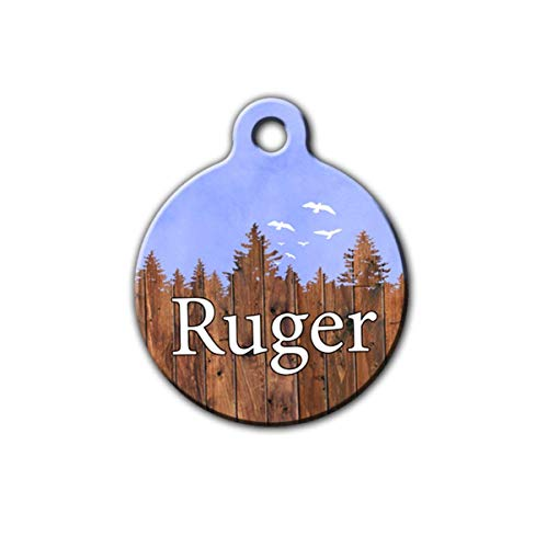 Dog tag for boy dogs, Blue Pet id tag, Rustic pet tag, Wilderness pet tag, personalized aluminum pet id tag
