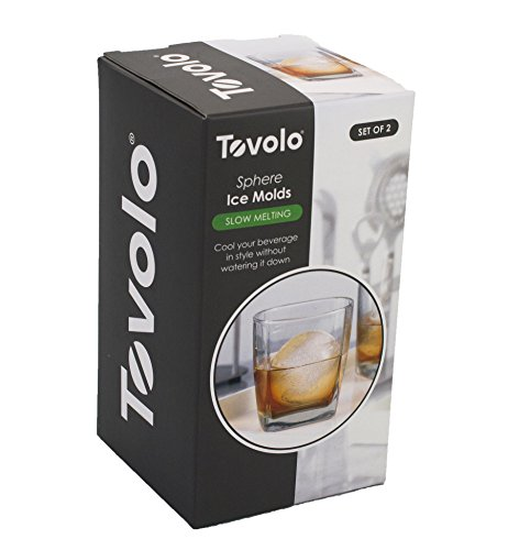 Tovolo 80-9697 Leak-Free With Silicone Sealed Lid, Anti-Tip, Set of 2 Stackable Molds for Whiskey, Spirits, Liquor, Cocktails, Soda & More, Frost/Charcoal