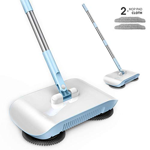 Rayzi Household Cleaning 360 Hand Push Automatic Sweeper Broom - Including Broom & Dustpan & Trash Bin - Non Electric for Tile,Marble, and Hardwood, 2 x Cloth (Blue)