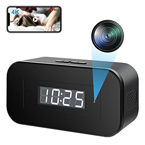 Wi-Fi 小型カメラ 隠しカメラ スパイカメラ 置き時計型, 1080P高画質超小型防犯監視カメラ 長時間録画 盗撮カメラ ミニビデオカメラ 屋内家庭用 スマホ対応 遠隔操作 赤外線暗視 動体検知 日本語取扱説明書付