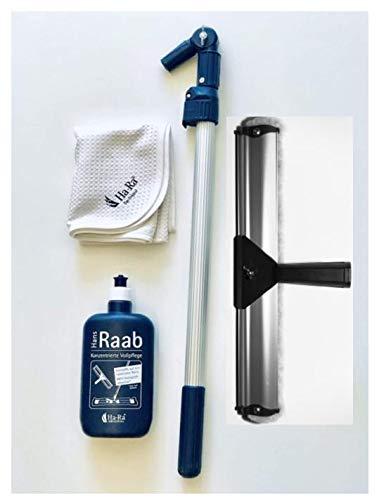 Ha-Ra FENSTER SET: 1 x Ha-Ra Fensterwischer 38 cm + Ha-Ra Vollpflege 500 ml + 1 x Ha-Ra Hammer Trockentuch Microfaser 50 x 68 cm + 1 x Ha-Ra Teleskopstange (von 0,5 m bis 1,0 m stufenlos verstellbar)