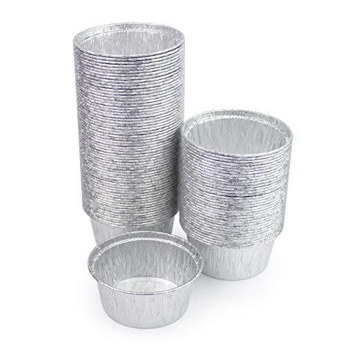 Miamex - Lote de 100 recipientes de aluminio desechables para cupcakes, cremas, magdalenas, 150 ml