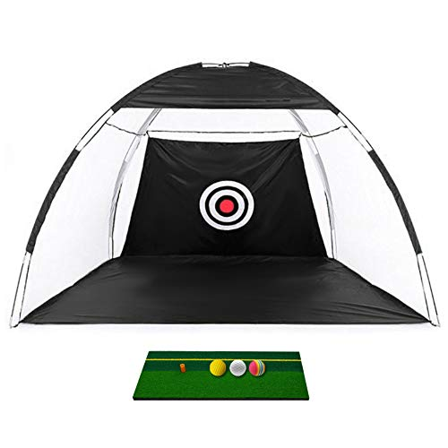 Barbella Golf Hitting Nets + Hitting Mat Bundle, with 3 Foam Balls - Training Aids Practice Nets for Backyard Driving Range Chipping with Target Carry Bag for Indoor Outdoor Sports