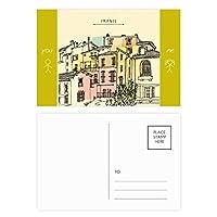 市の建物のカラフルなフランス絵画 友人のポストカードセットサンクスカード郵送側20個