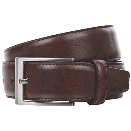 Lindenmann Mens leather belt/Mens belt, leather belt XL curved, middle brown, Größe/Size:95;Farbe/Color:marron