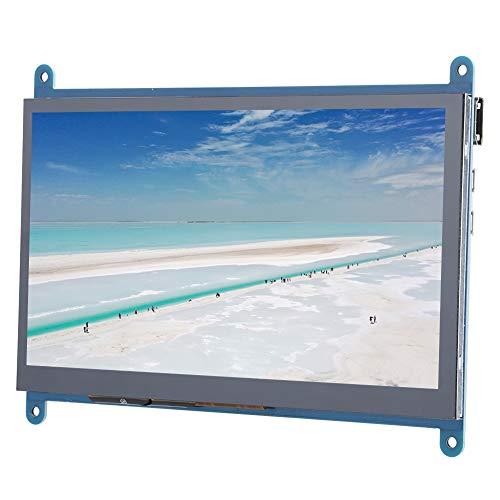 Dilwe Monitor de Pantalla táctil de 7 Pulgadas, Pantalla portátil alimentada por USB con Interruptor de luz de Fondo, Pantalla táctil HDMI de 1024 x 600 para Raspberry Pi