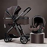 YQLWX 3 en 1 Cochecito de cochecito de bebé Carrito de lujo plegable Cochecito de silla de stroller Absorción de choque Vista alta PRAM Cochecito de bebé con bolso de mamá y cubierta de lluvia (color: