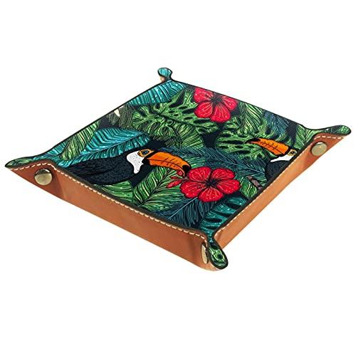 Bandeja de cuero,tucán y hojas de palma ,Bandeja de cuero plegable para reloj de joyería de monedas de llave de...