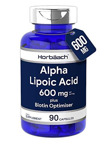 Alpha Lipoic Acid 600mg | 90 Capsules | Plus Biotin Optimiser | Powerful Antioxidant | Non-GMO, Gluten Free | by Horbaach